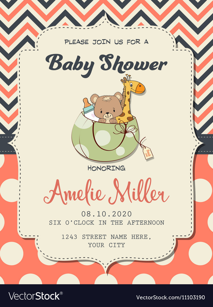Beautiful baby girl shower card with toys vector image
