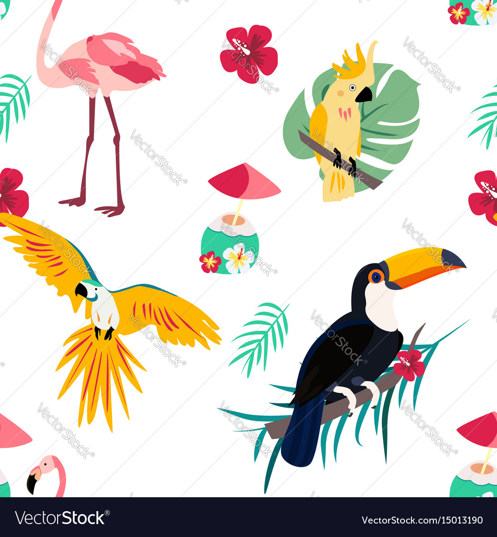Bright pattern with toucan flamingo parrot and