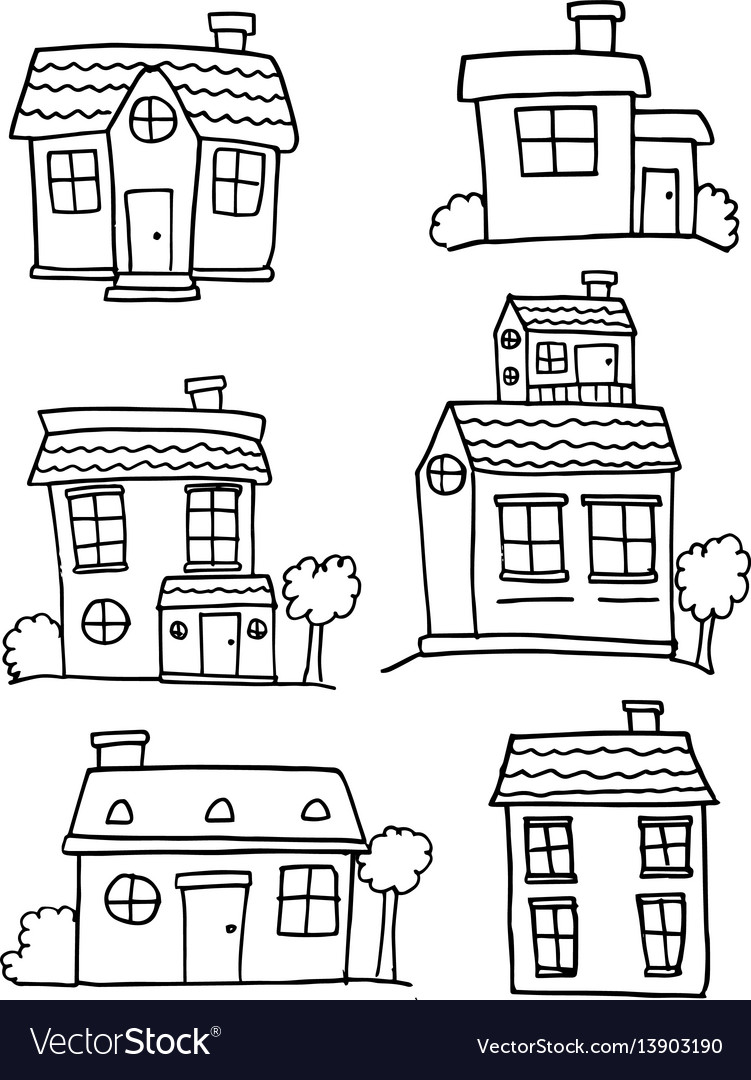 Collection of house various hand draw vector image