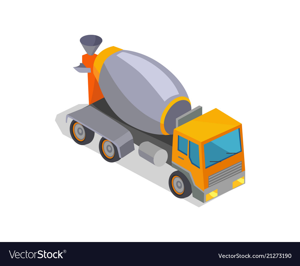 Concrete mixer truck isolated on white background