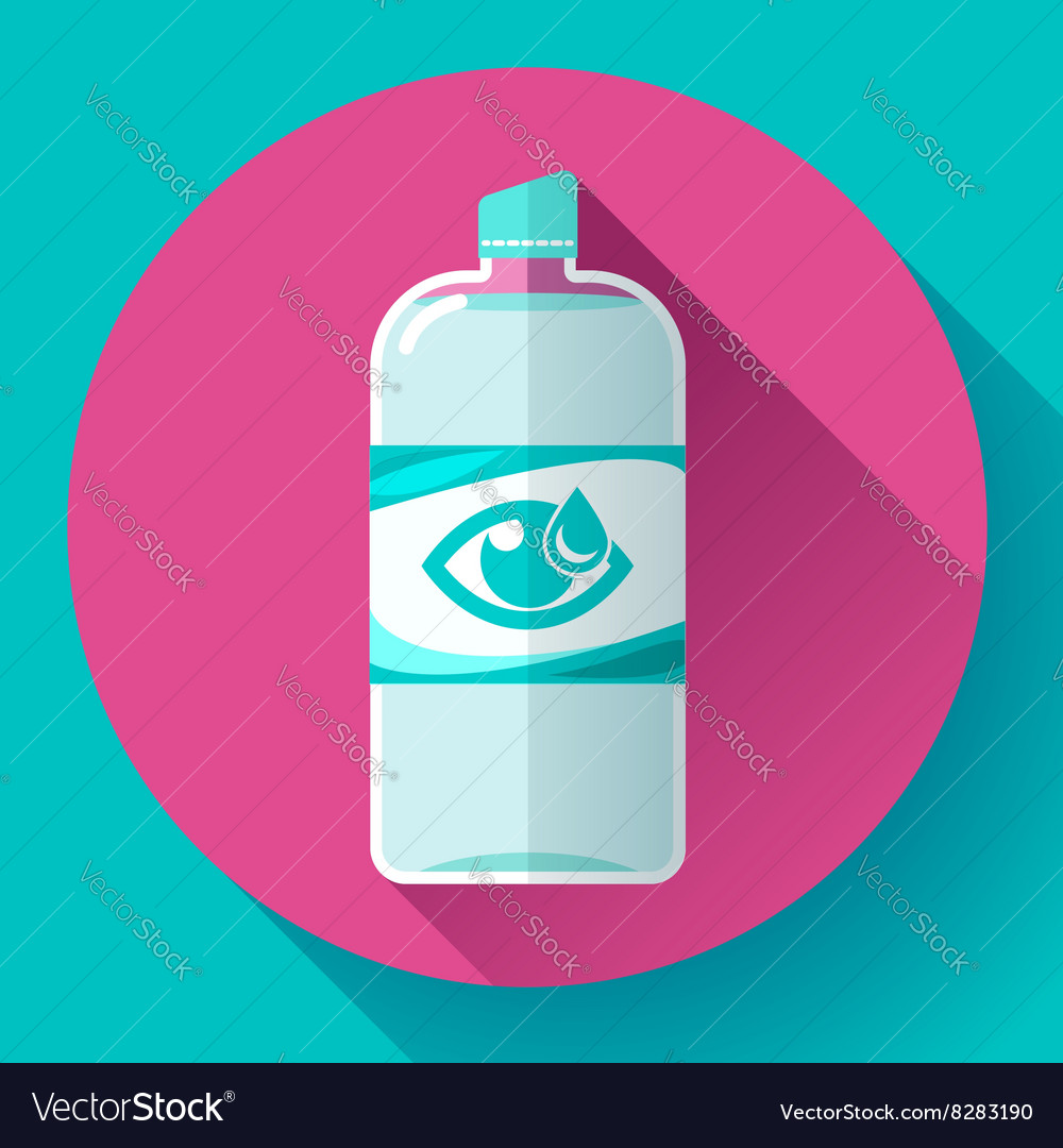 Contact lens daily solution icon with long shadow vector image