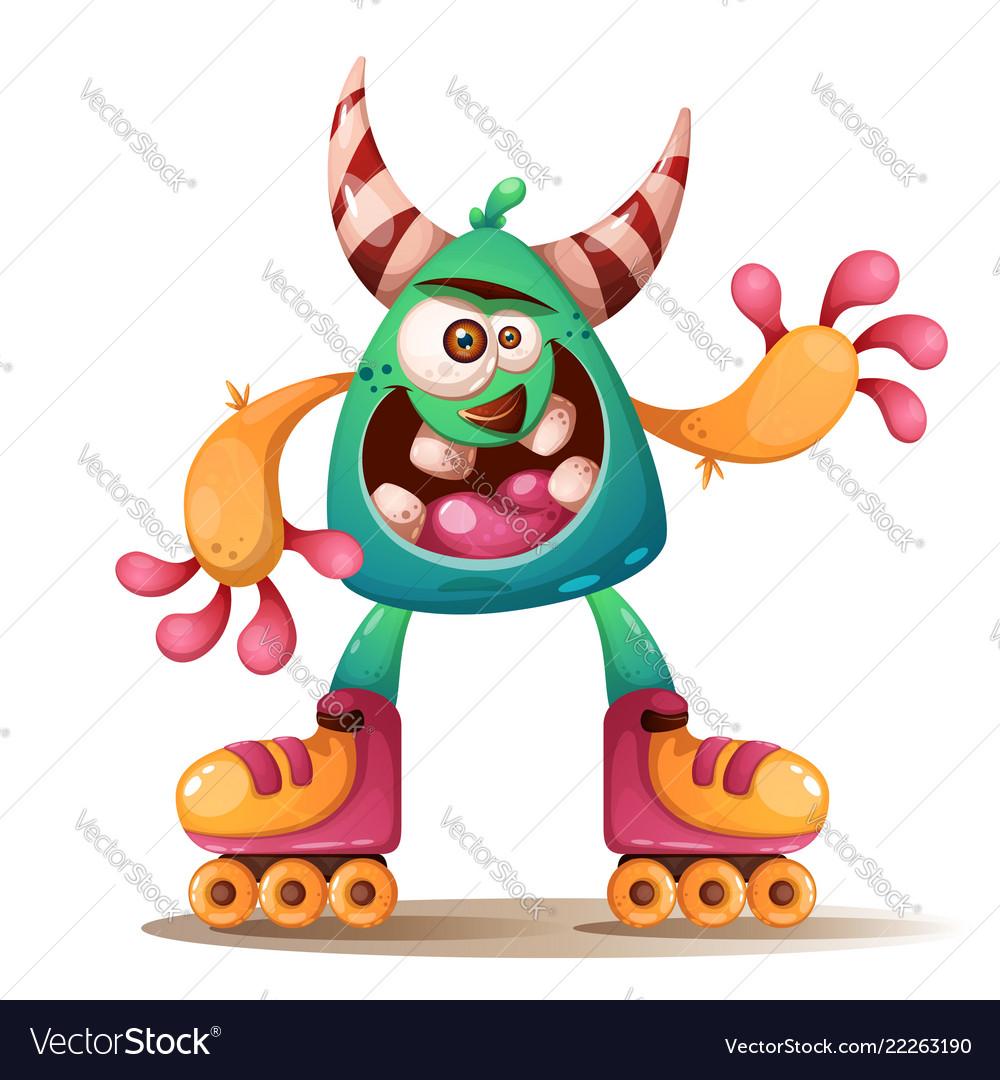 Crtoon monster characters roller skate