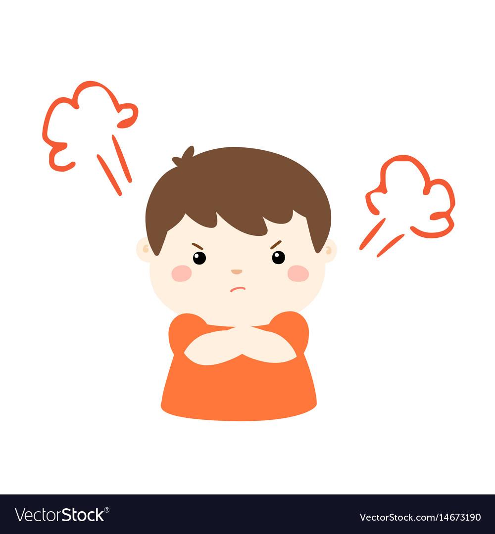 Cute Cartoon Angry Boy Character Royalty Free Vector Image