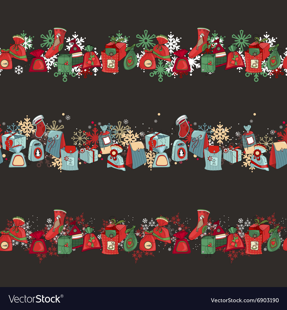 Endless pattern brushes with Christmas decorations vector image