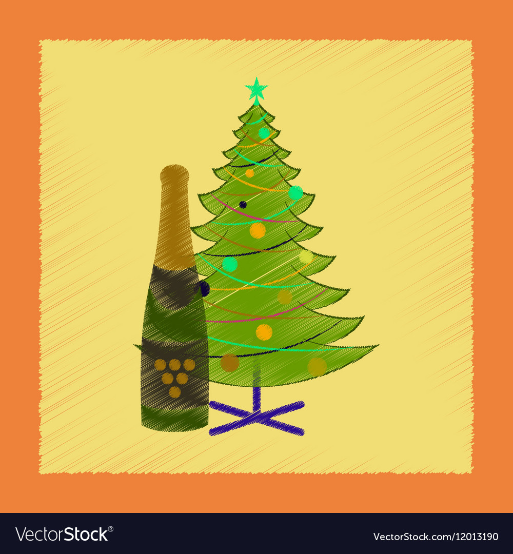 flat shading style icon christmas tree champagne vector image
