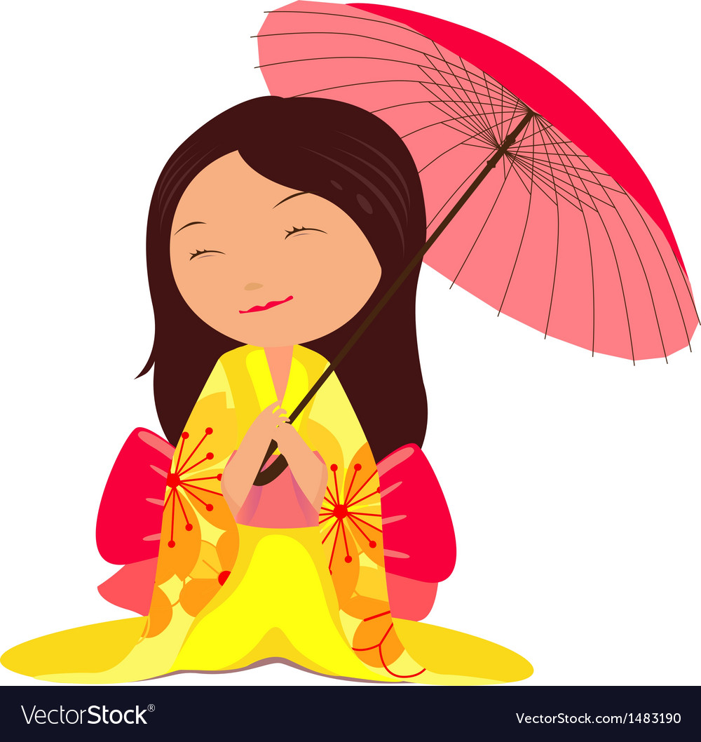 Girk with red umbrella vector image