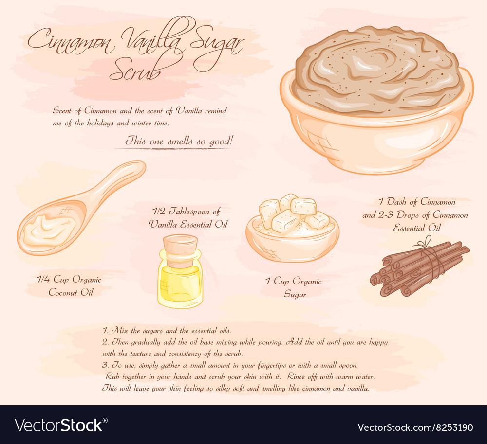 Hand drawn of cinnamon vanilla sugar scrub recipe