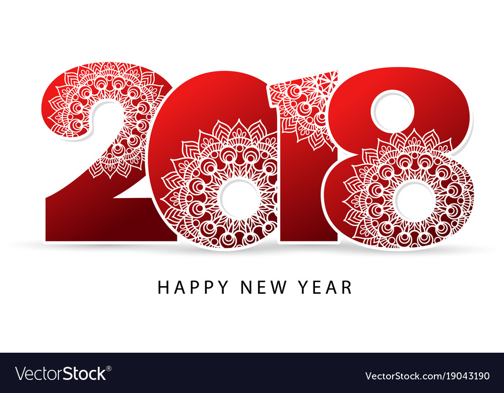 Happy new year 2018 theme red