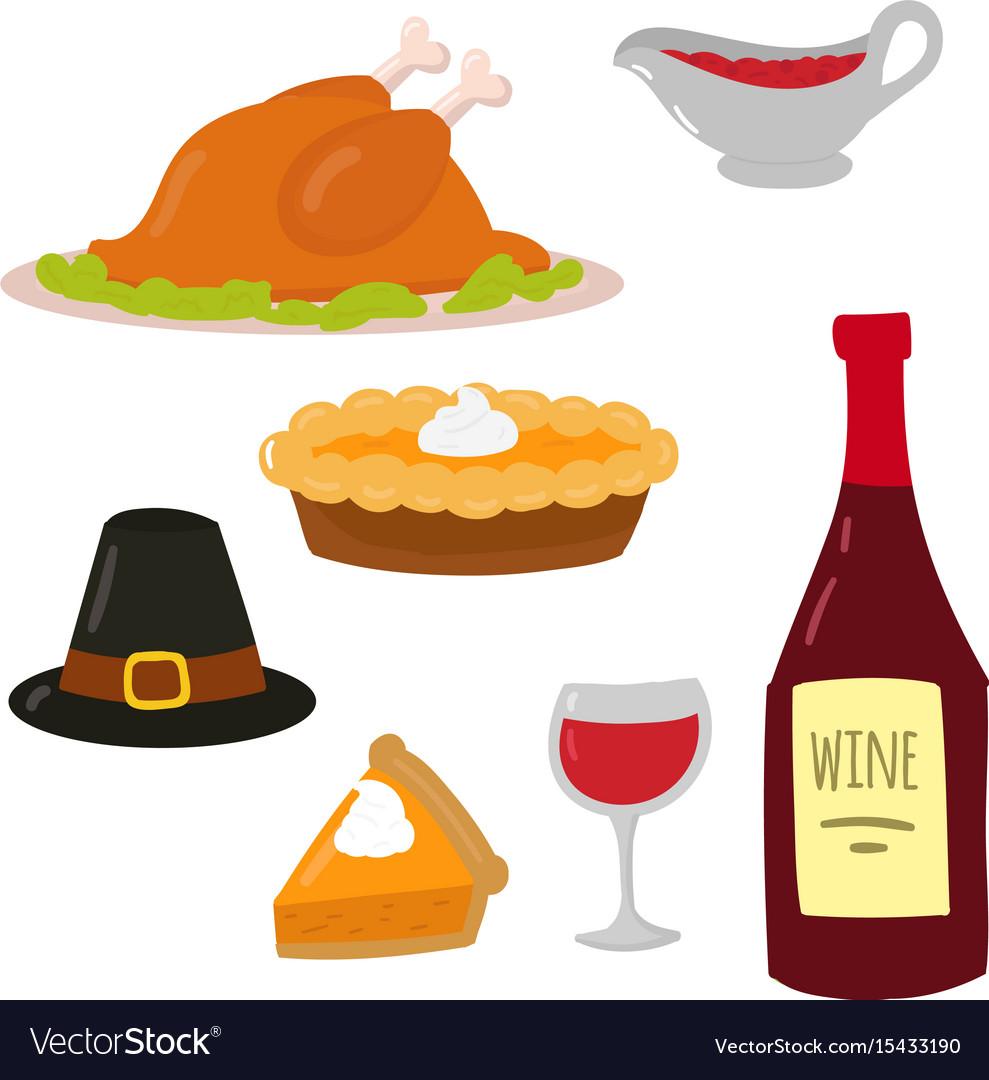 Happy thanksgiving day symbols design holiday