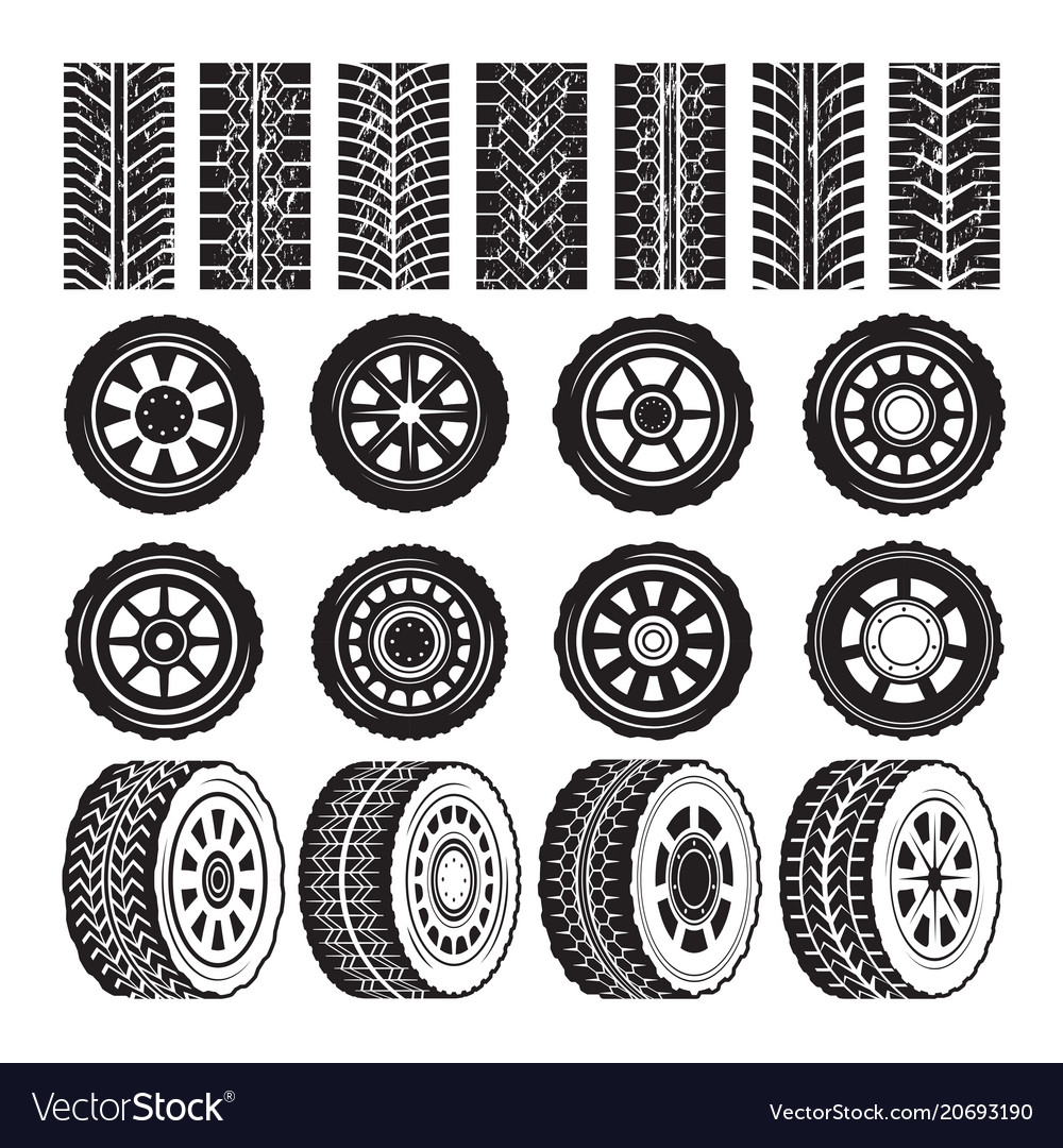 Monochrome pictures with wheels and tyres vector image