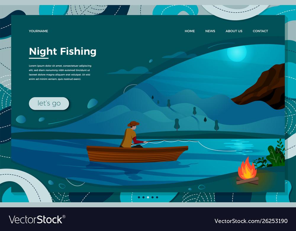 Night fishing man on boat