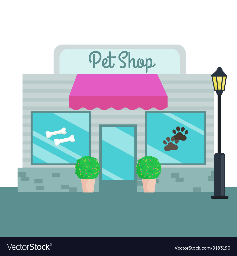 Pet Shops and stores front flat style
