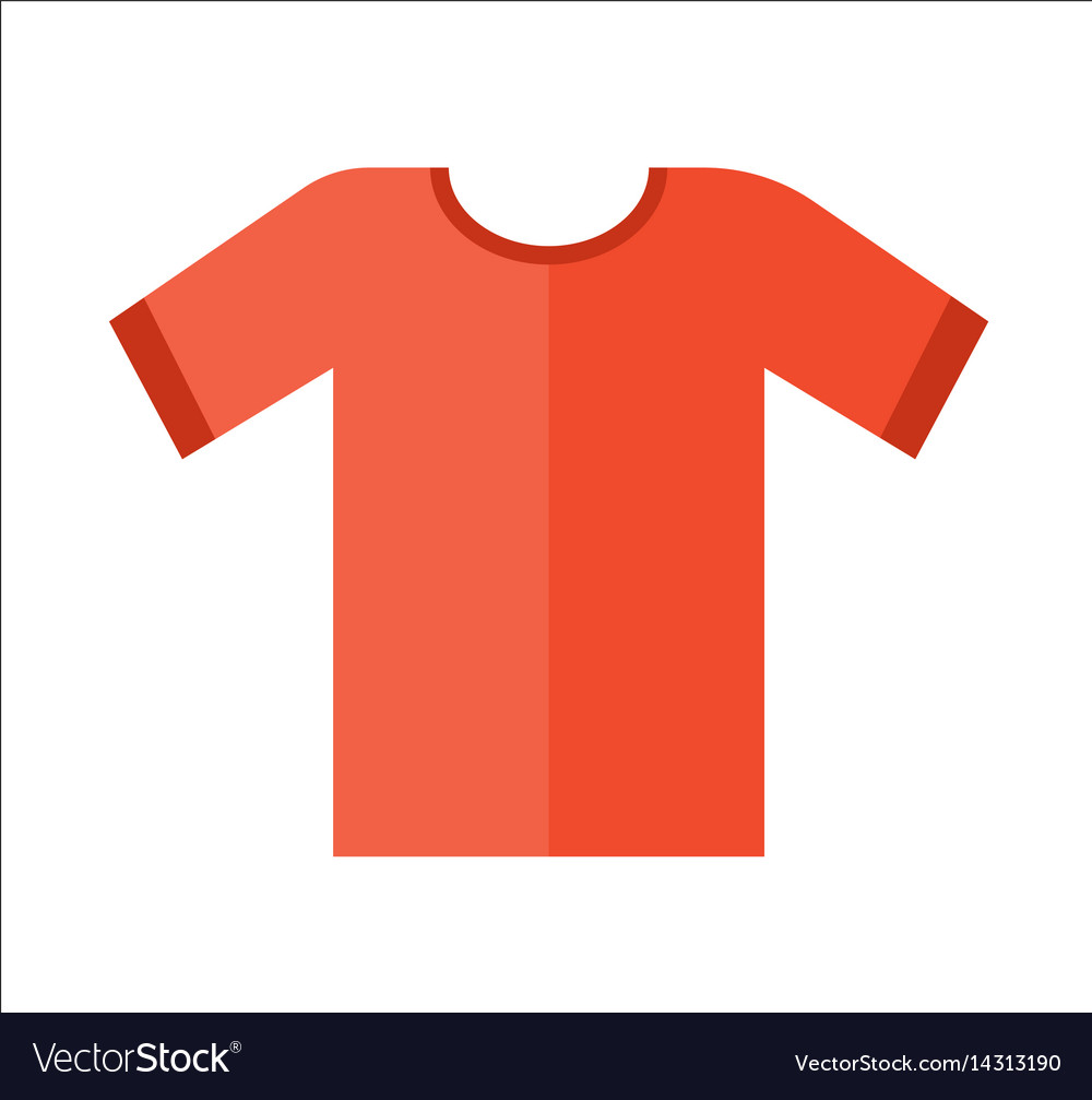 Red t-shirt icon in flat design