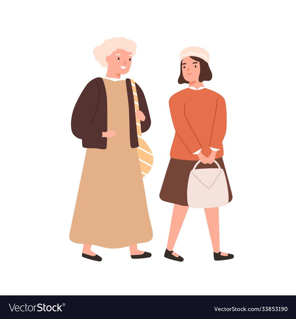 Schoolgirl and grandmother going to primary school