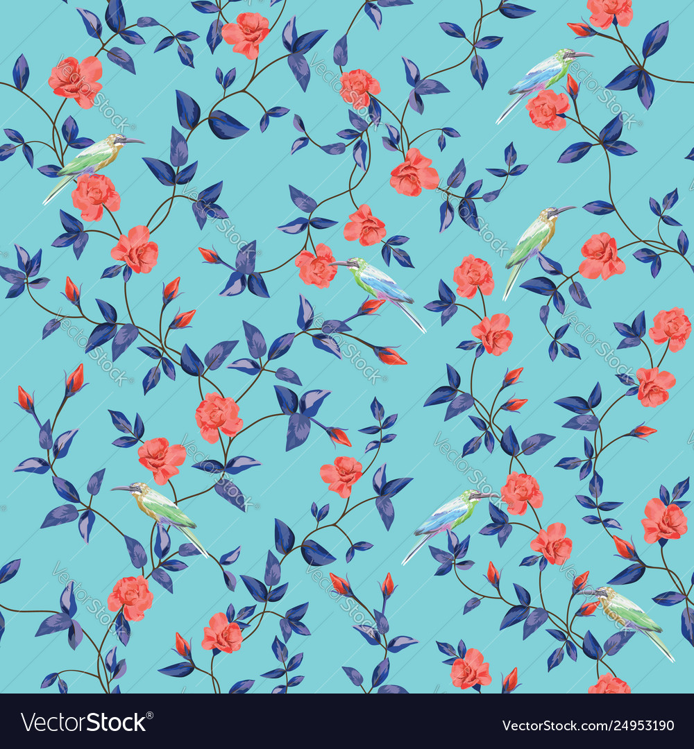 Seamless pattern flower rose with birds blue