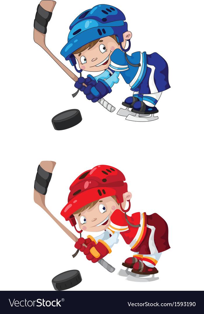 Set funny boy hockey vector image