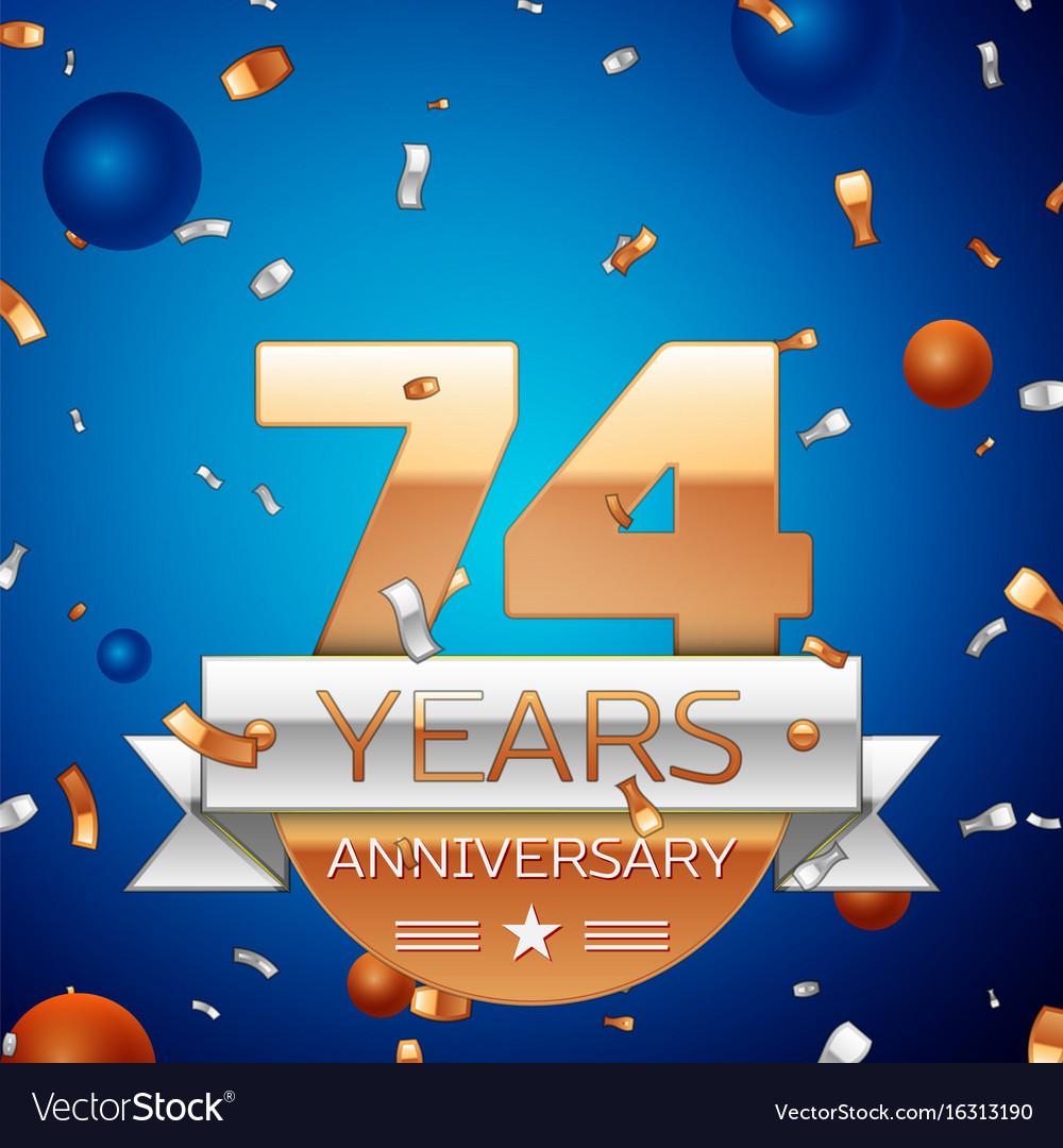 Seventy four years anniversary celebration design