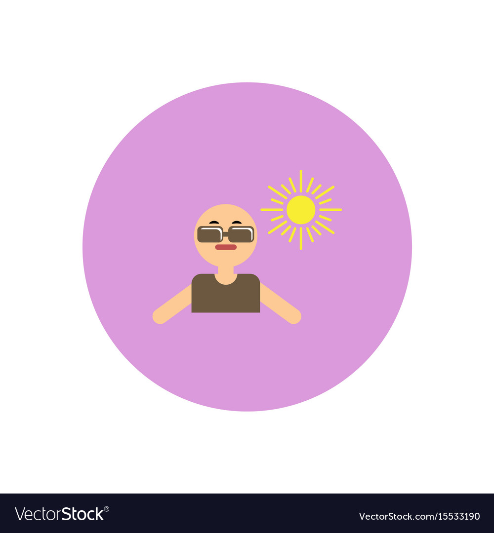 Stylish icon in color circle man in sunglasses