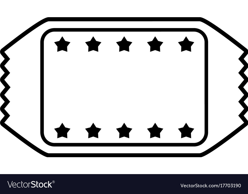 Tickets blank star frame icon image Royalty Free Vector
