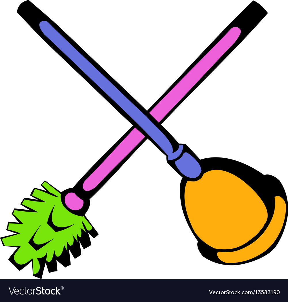 Toilet plunger and brush icon icon cartoon