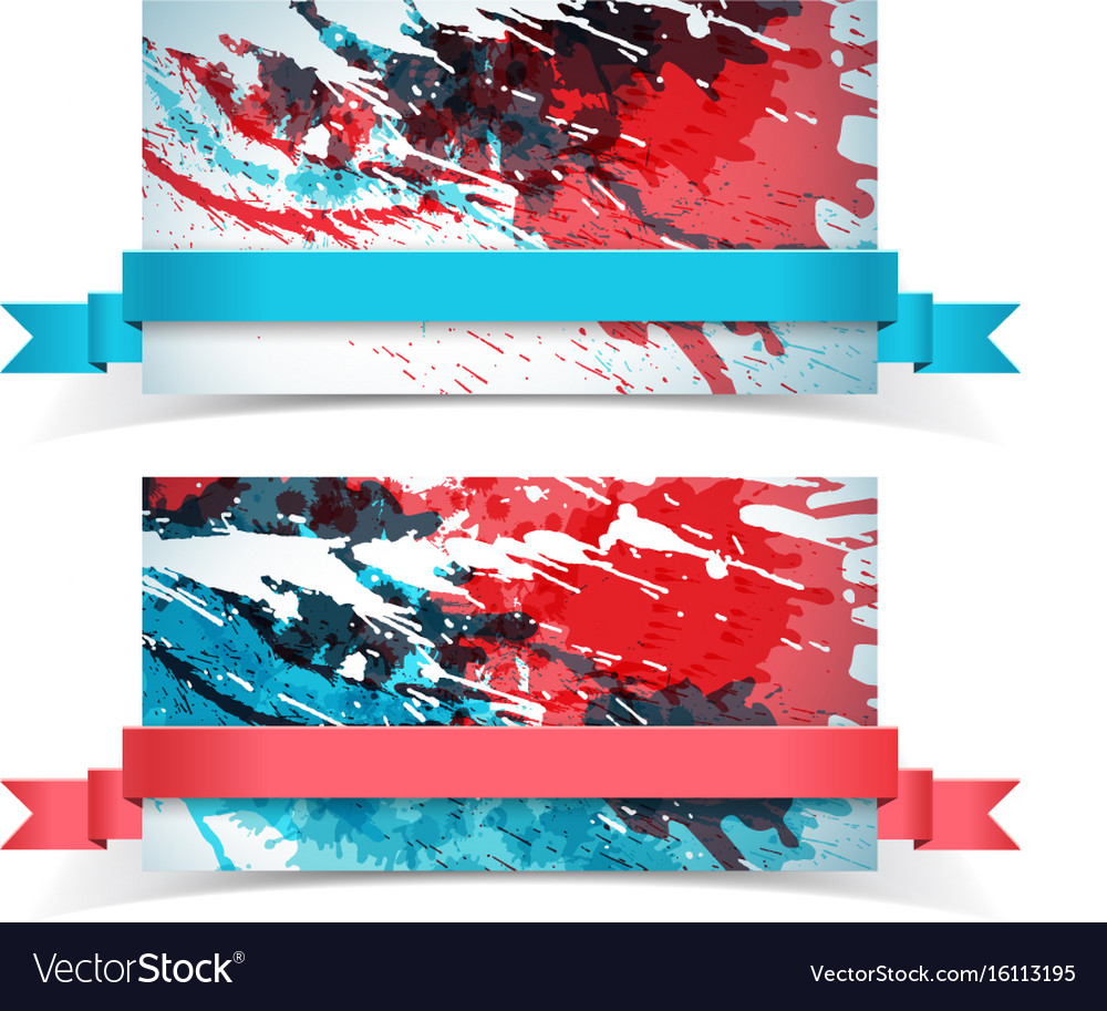Abstract paints banner set