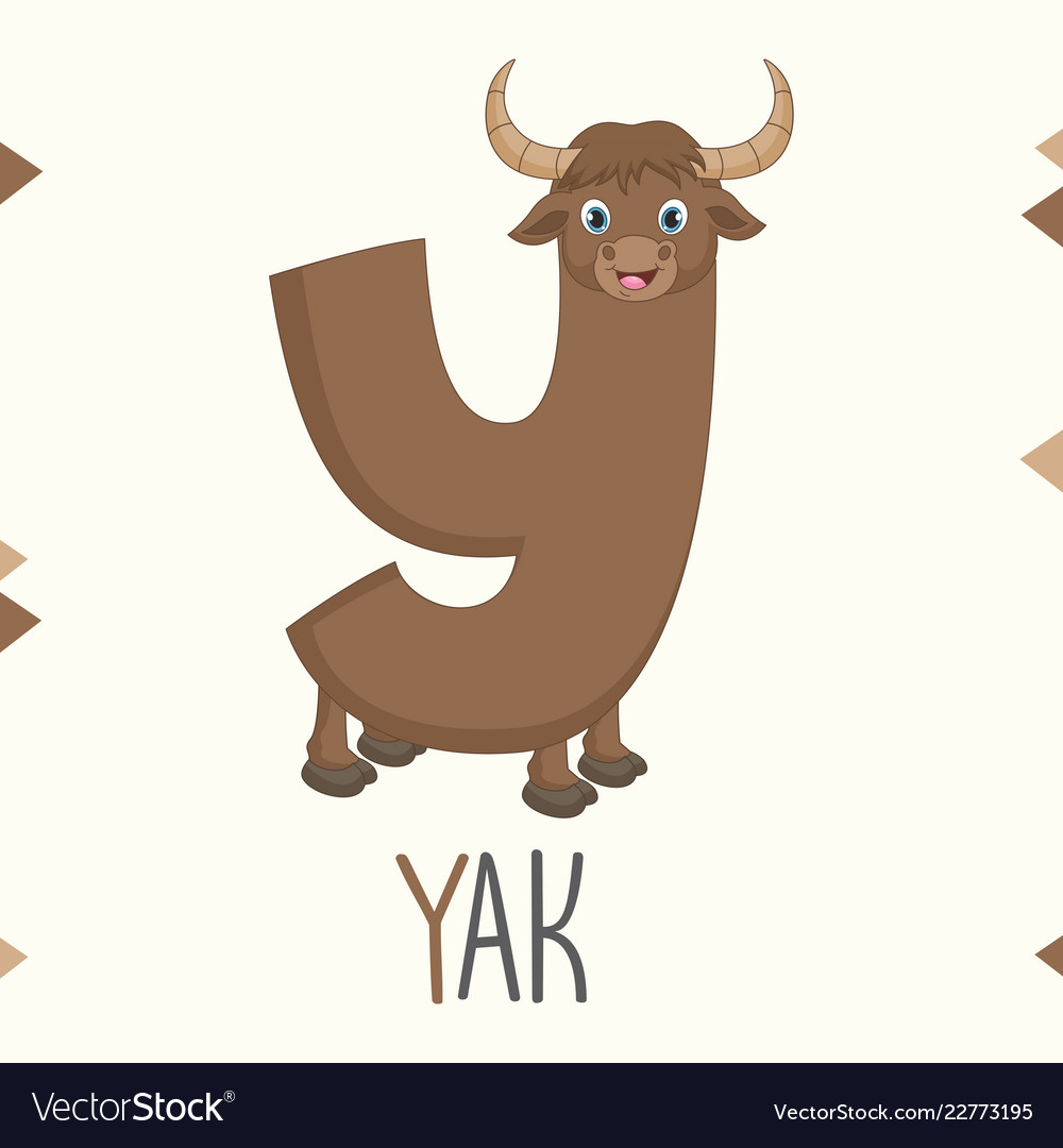 Alphabet letter y and yak