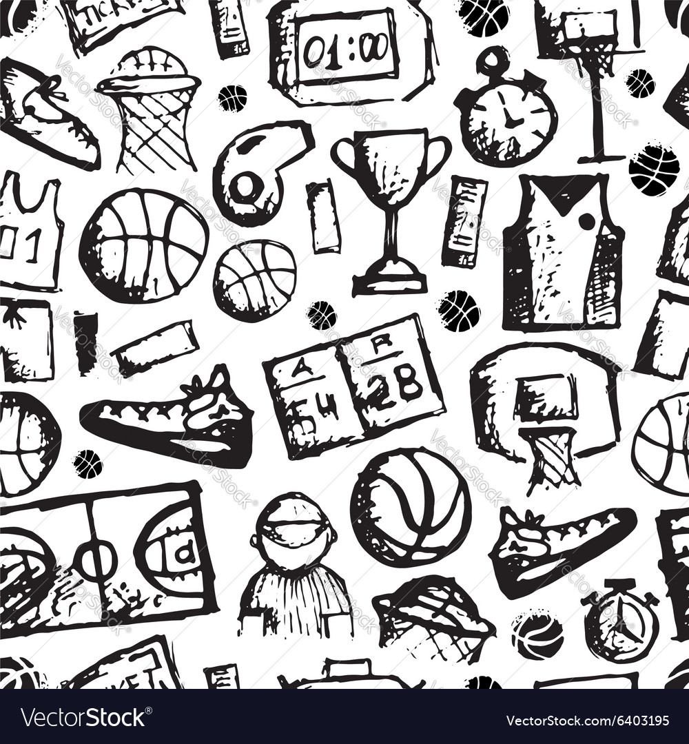 Basketball seamless pattern sketch for your