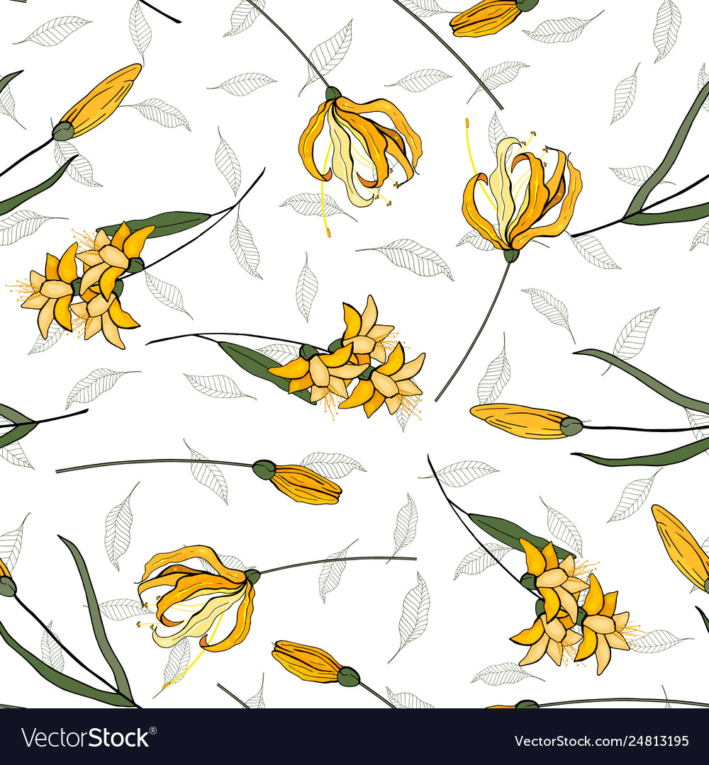 Blooming realistic isolated flowers hand drawn