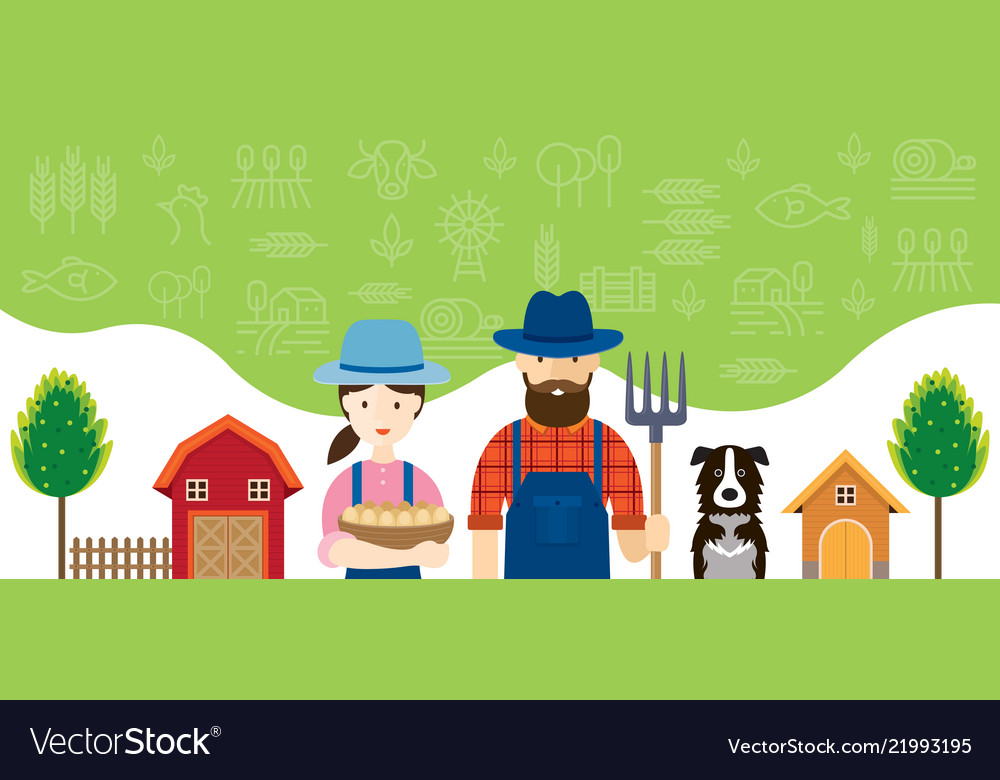 Couple of farmers characters with icons background