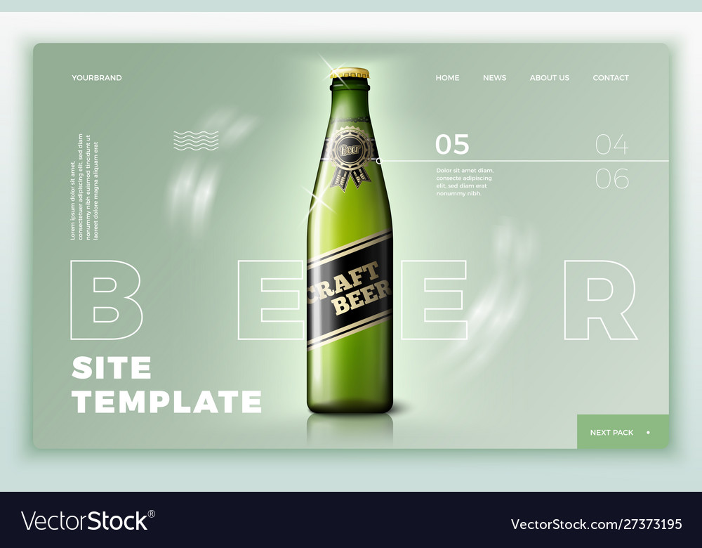 Green beer bottle on bright site template