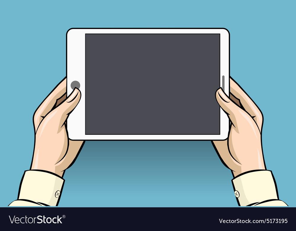 Hands holding tablet computer