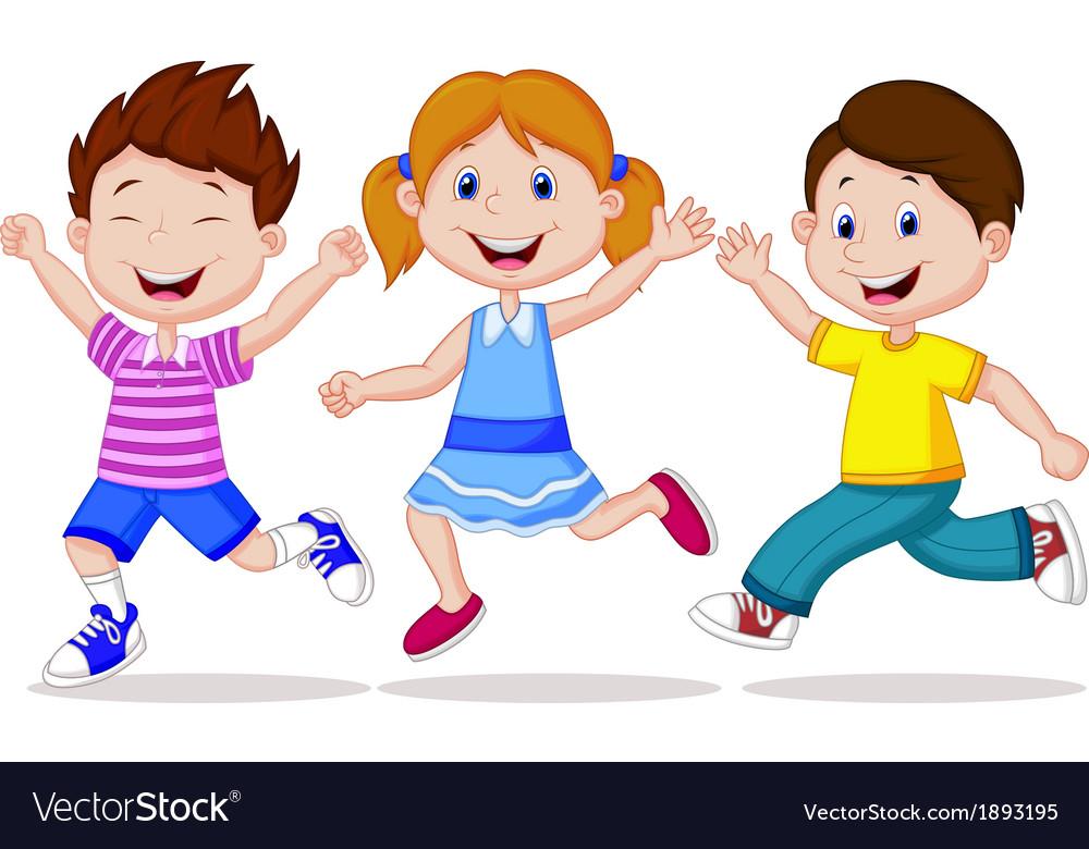 Happy children cartoon running Royalty Free Vector Image