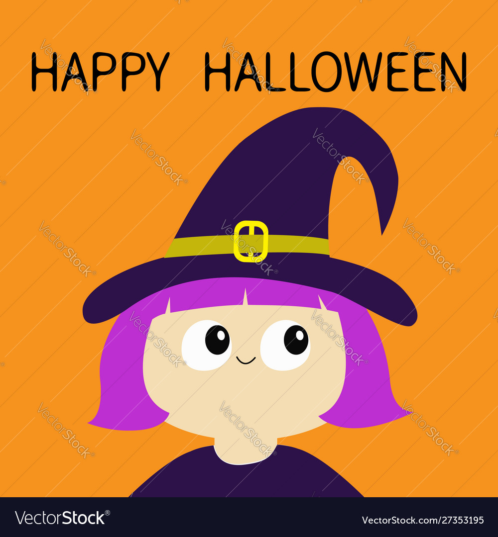 Happy halloween witch girl wearing curl hat