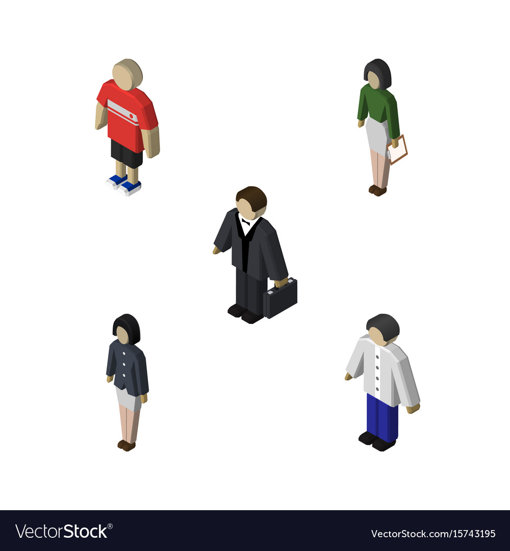 Isometric human set of girl investor pedagogue vector image
