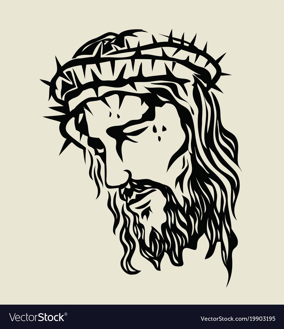 Line Drawing Of Jesus Face : Jesus christ face sketch drawing royalty free vector image