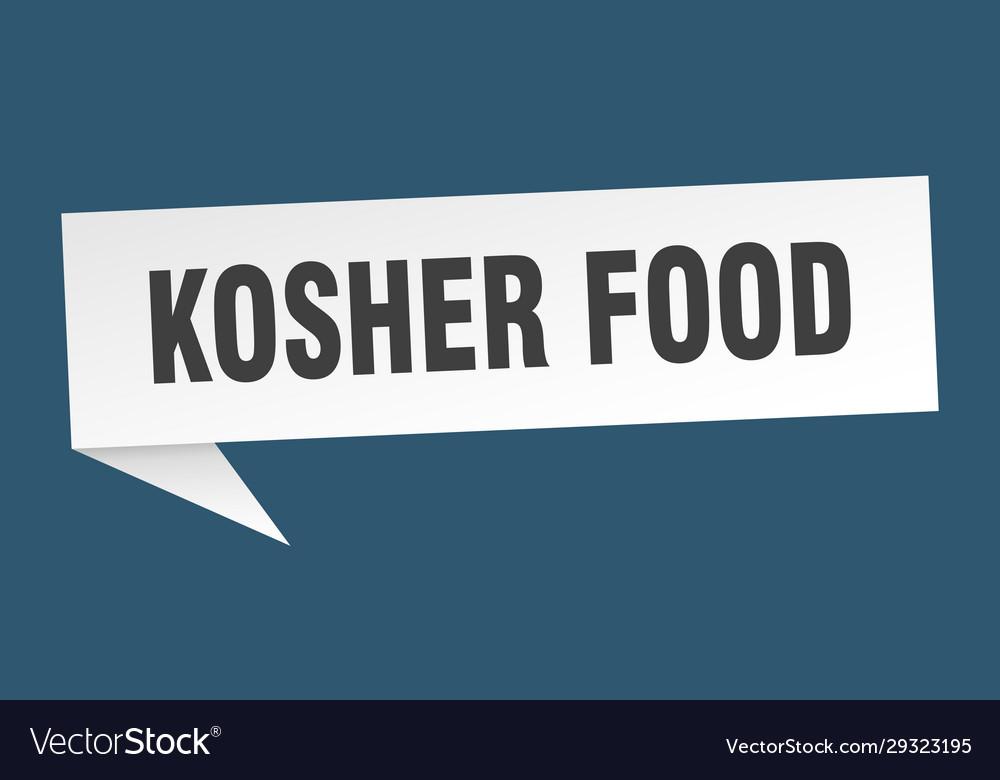 Kosher food speech bubble kosher food ribbon sign