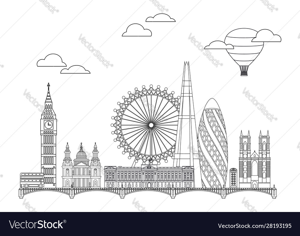 London skyline line art 2