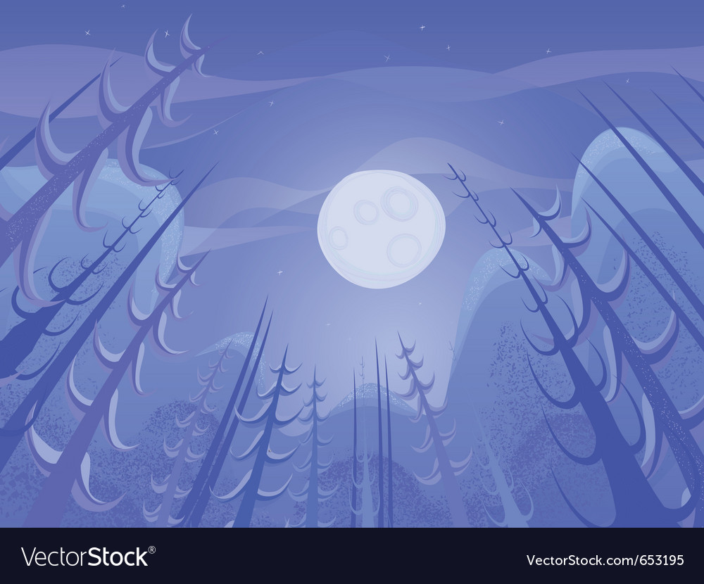 Nature night landscape vector image