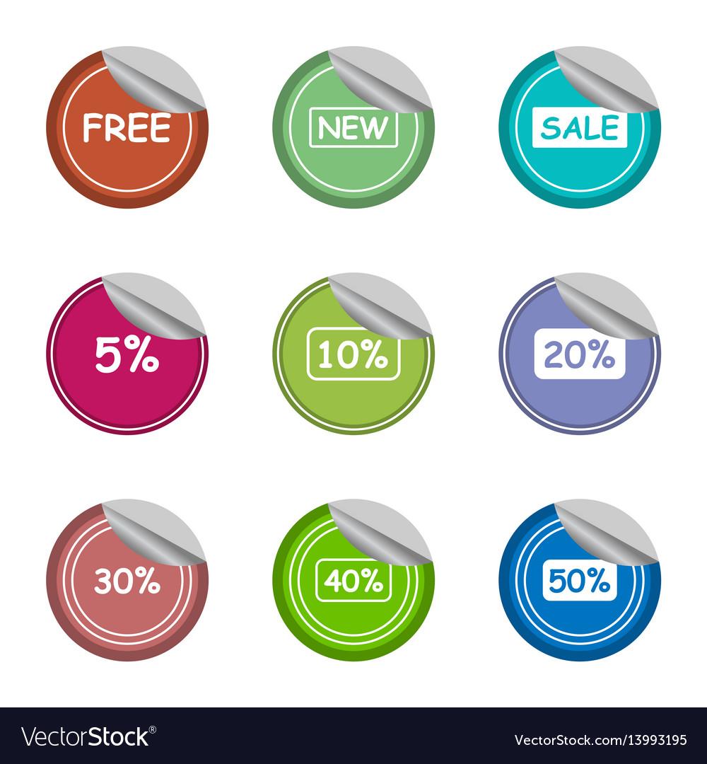 Salenewfreeand percentage sticker label set vector image