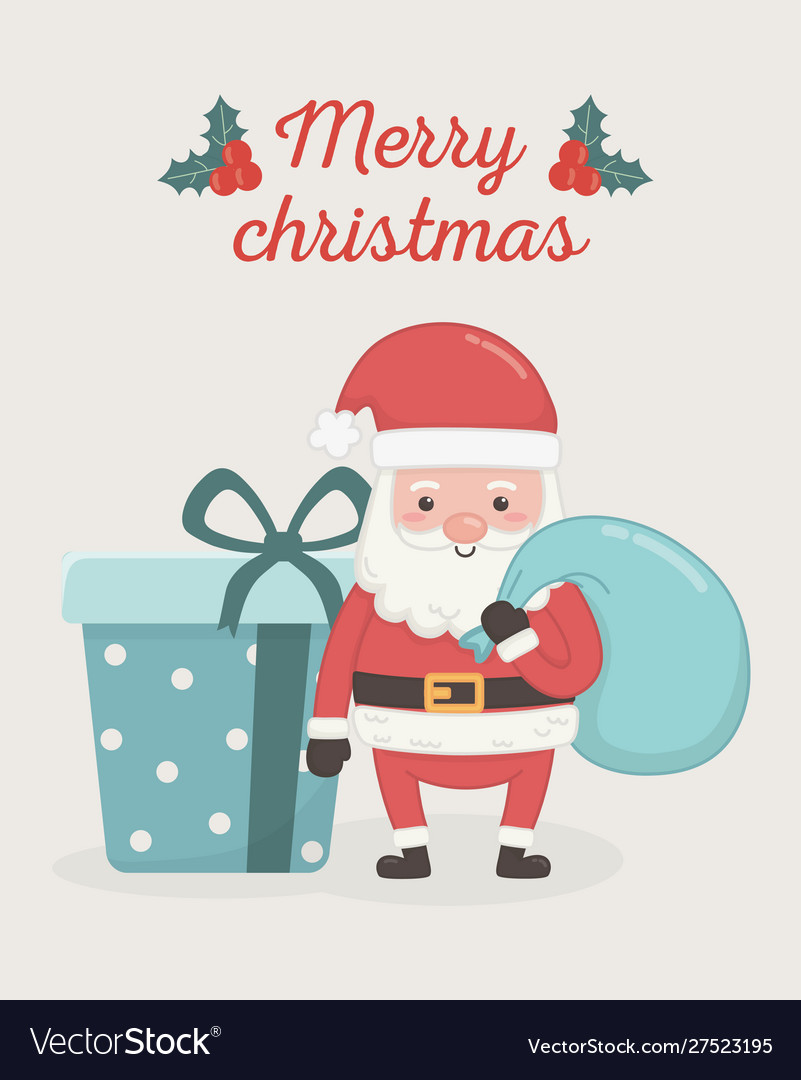 Santa claus with bag and gift box merry christmas