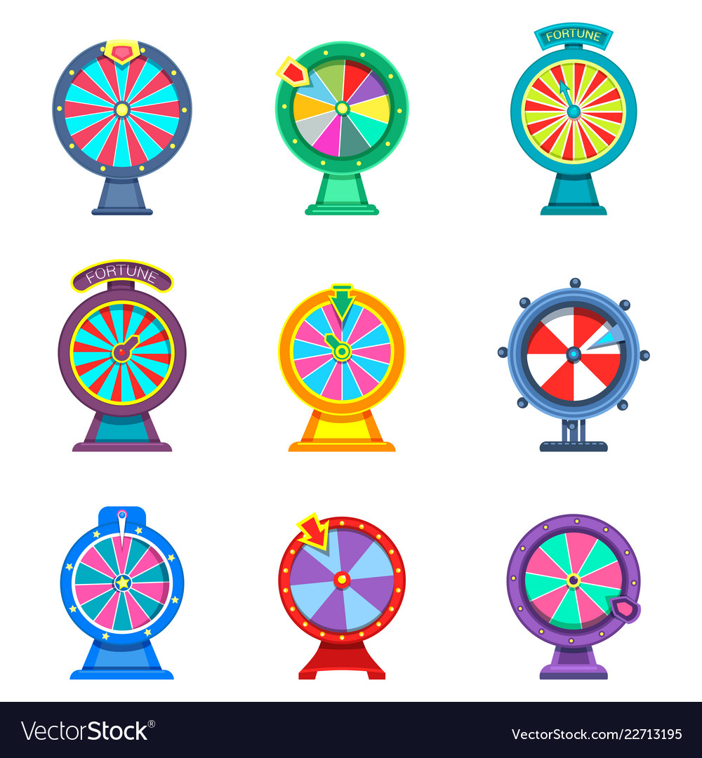 Set of isolated wheels of fortune or roulettes