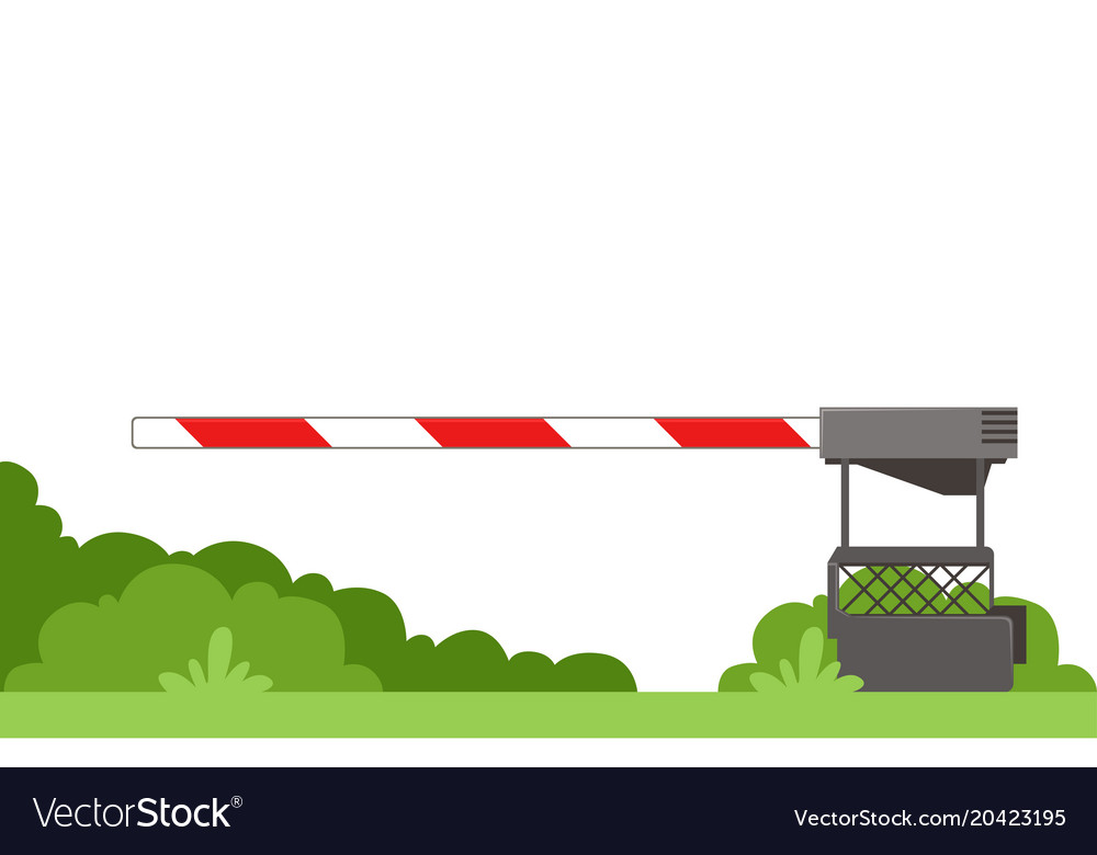 Striped automatic barrier prohibits traffic