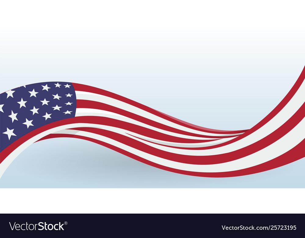 Usa waving national flag modern unusual shape