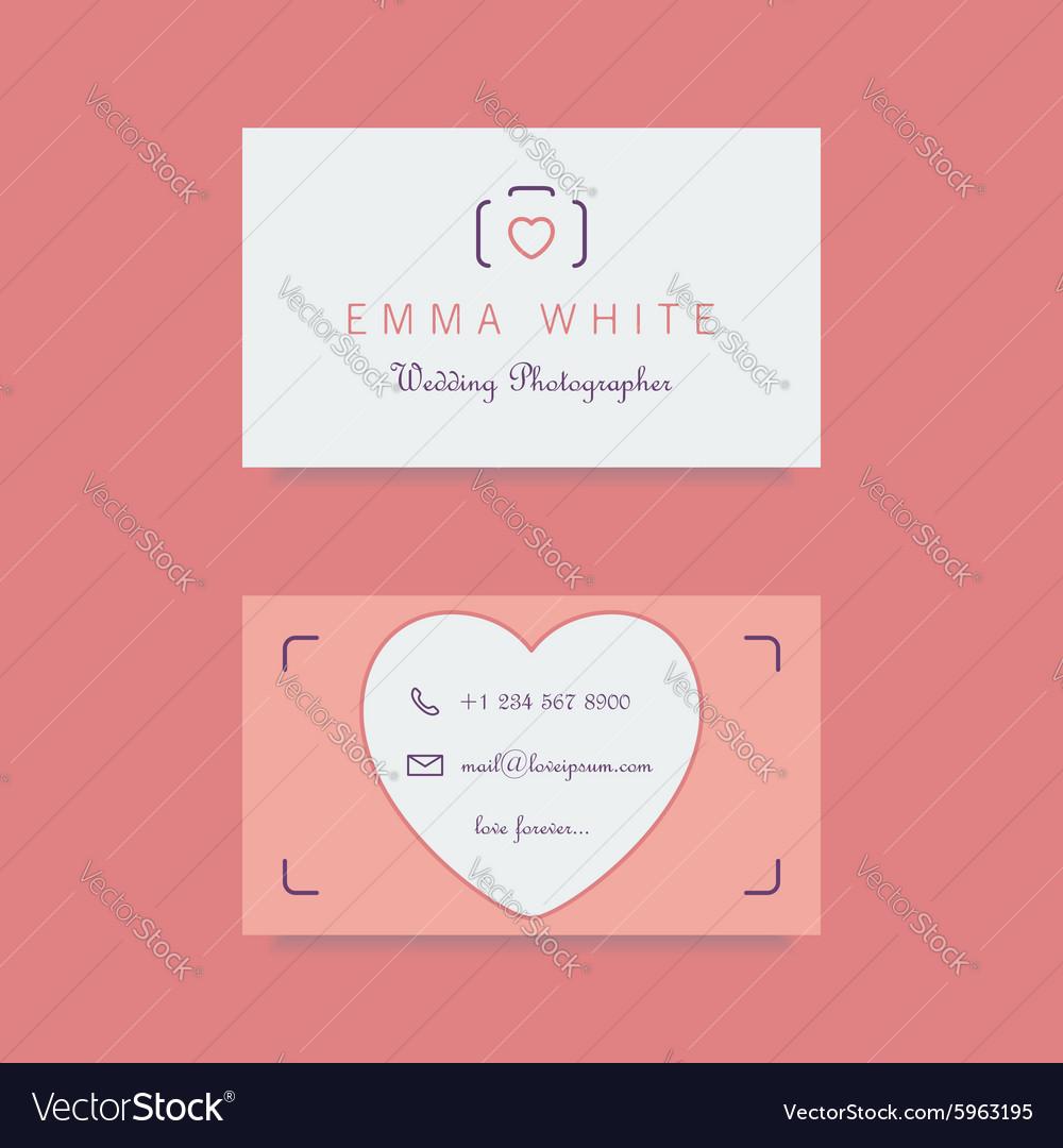 Wedding photographer business card template Vector Image
