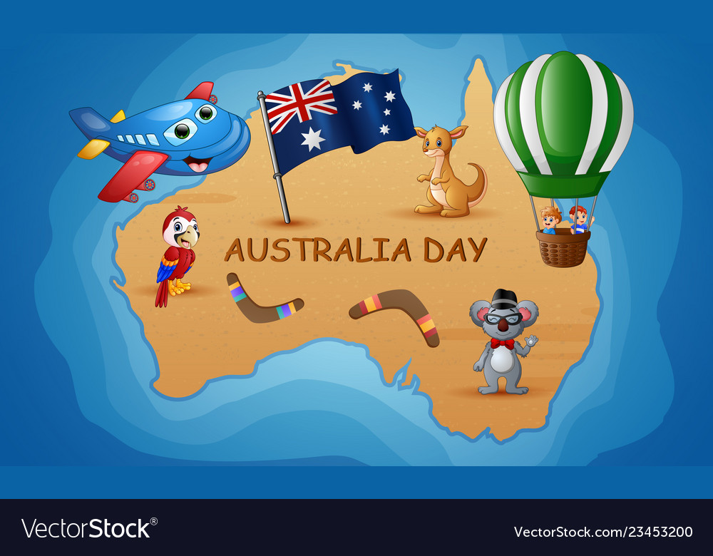 Australia Map Cartoon.Australia Map In The Background Of The Ocean With Vector Image
