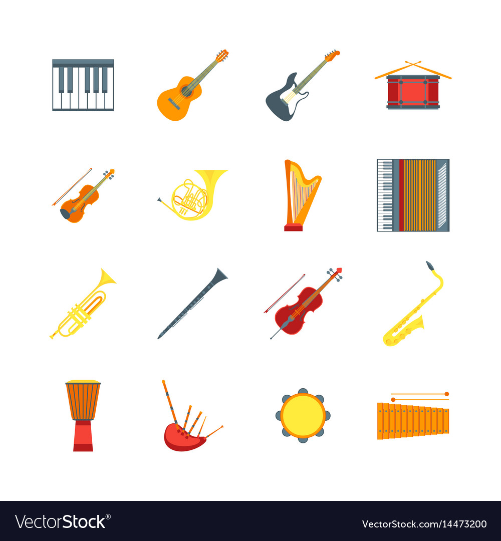 Cartoon musical insrtuments color icons set