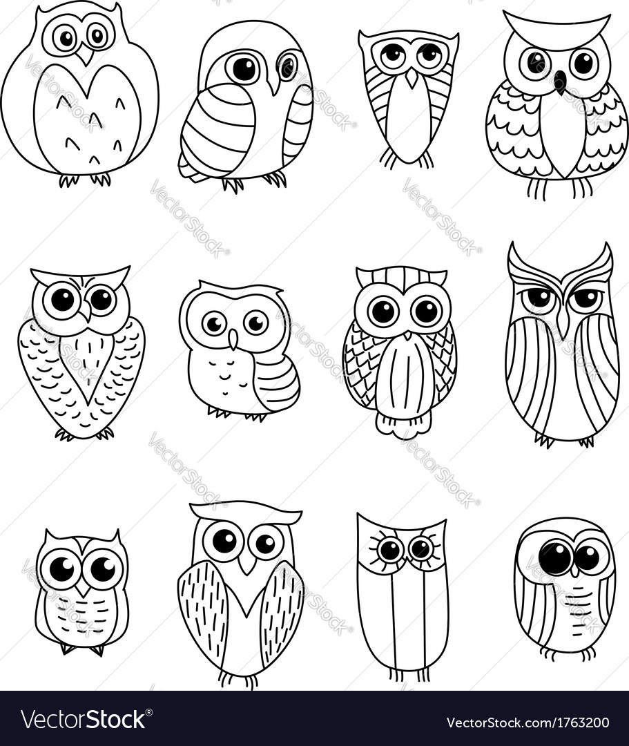 Cartoon owls and owlets