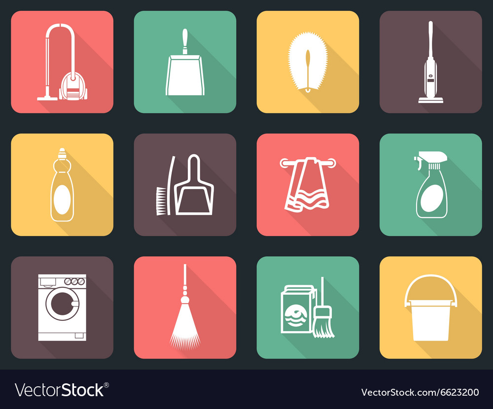 Cleaning flat icon set