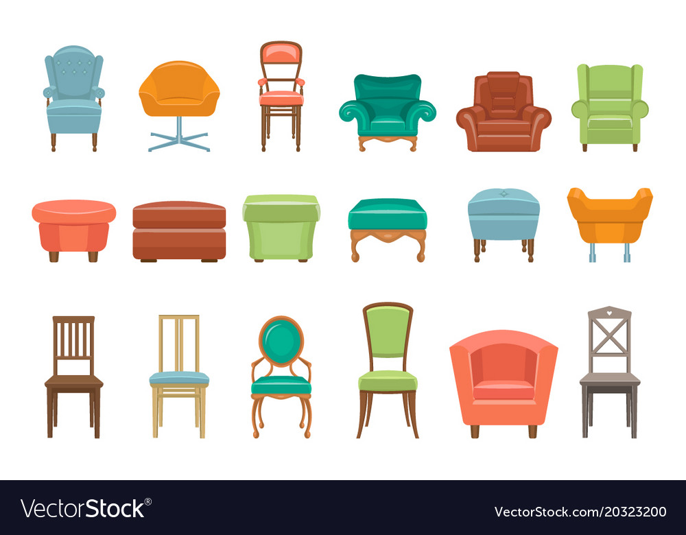 Collection Of Different Types Seating Armchairs Vector Image