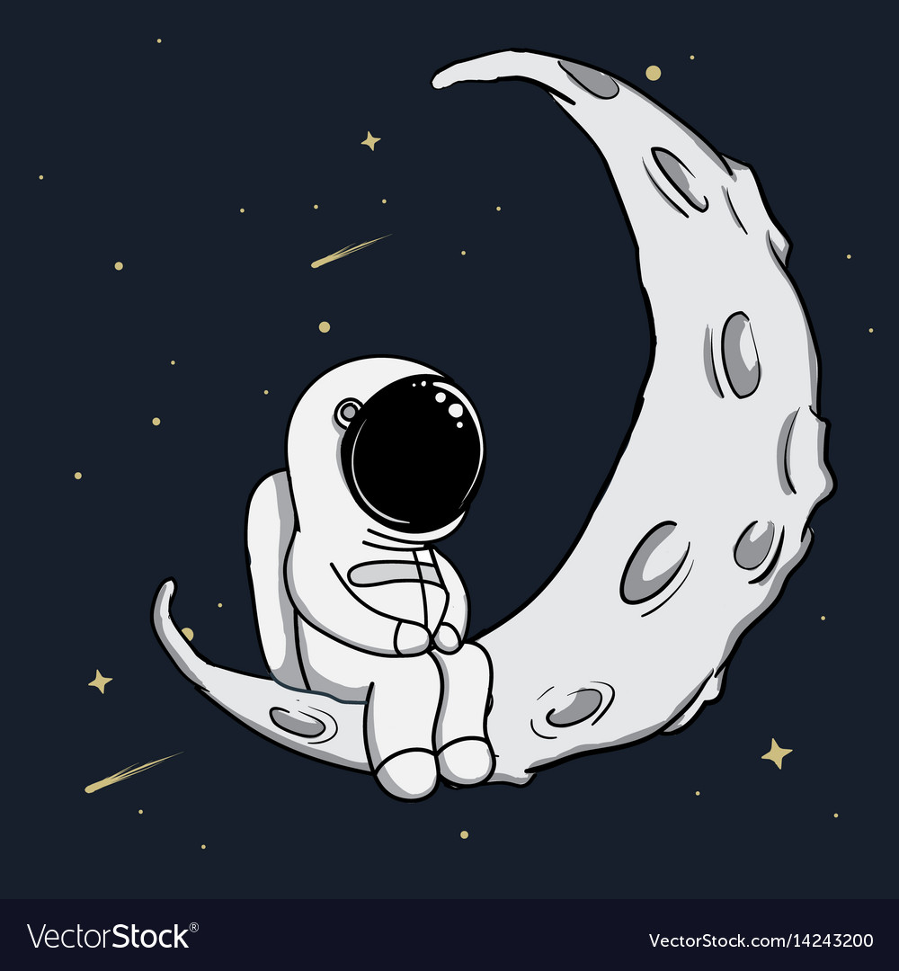 Cute astronaut sits on crescent moon